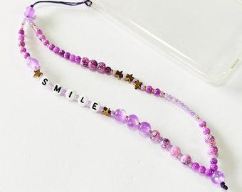 Purple phone strap, Phone beaded bracelet, Phone jewelry, Beaded purple phone string, Gift for her
