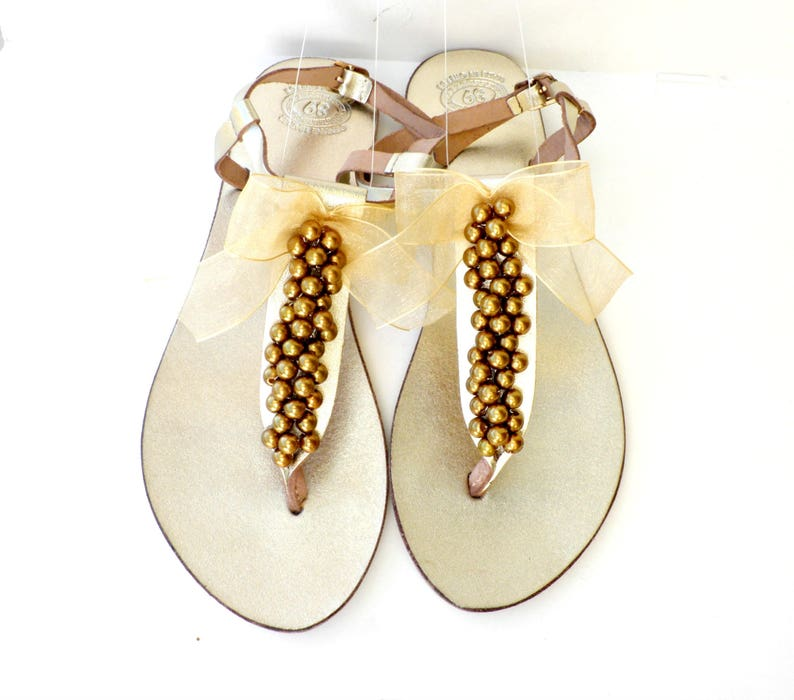 Pearl sandals Gold sandals Wedding leather sandals Metalic
