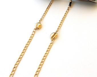Gold Sea shell Sunglasses chain, Eyeglasses necklace, Glasses chain, Sunglasses holder, Gold eyeglass necklace, Reading glasses holder