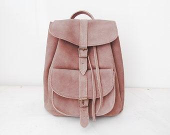 Suede leather backpack / Σουέτ σακίδιο πλάτης