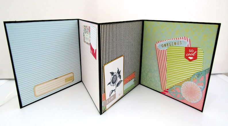 Accordion mini album Ready to ship Memories Photo book Premade pages Gift for her Bicycle album Scrapbook mini album Handmade album
