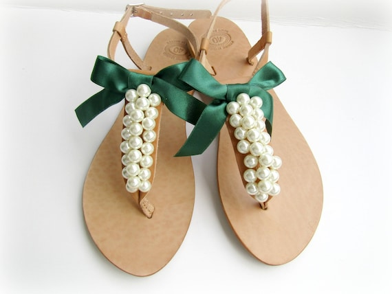 8180ee86f57e3c Wedding leather sandals   Decorated sandals with white pearls