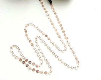 Rose gold sunglasses chain with coins, Sunglasses necklace, Eyeglasses pink chain, Eyewear accessories, Rose Gold glasses chain