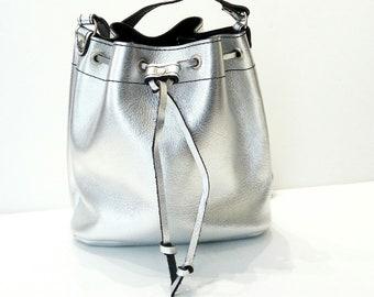 Bucket silver Leather bag Silver bag Greek bag Metalic bucket silver bag Handmade bag Gold leather shoulder bag Crossbody leather bag