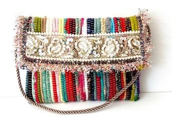 kourelou boho bag, Greek kilim bag, Envelope Colorful kurelou bag, Beach party bag, Handmade decorated bag, Summer bag, One of the kind bag