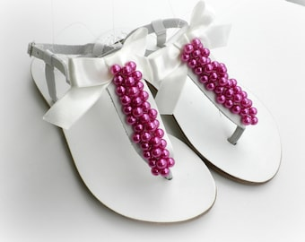 Wedding leather sandals, White sandals decorated fuchia pearls ivory bow,Bridal party,Summer flats,Beach wear, Pearls sandals, Bridal shoes,