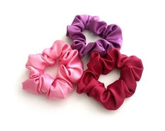 Pink satin scrunchy, Purple satin scrunchy, Hot pink satin scrunchy, Satin scrunchies, Hair accessories, Set of 3 scrunchies, Gift for her
