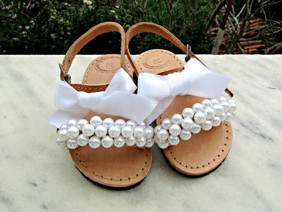 Flower Girl Sandals Wedding Sandals Girl Sandals White Etsy