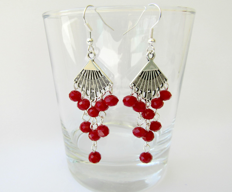 Fan chandelier earrings red crystal earrings boho earrings fan chandelier earrings red crystal earrings boho earrings bohemian chic earrings fan dangle earrings gift for her aloadofball Image collections