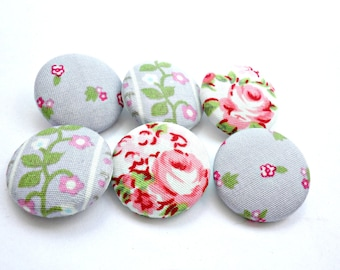 Grey pink fabric buttons, Sewing buttons, Grey buttons, Floral fabric buttons, Rose buttons, Covered fabric buttons Size 45 28mm 1 1/8 in
