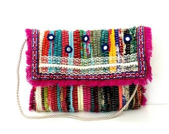 Greek kourelou bohemian bag, Envelope Colorful kilim bag, Greek rag rug bag, Handmade decorated bag, Summer bag, One of the kind bag