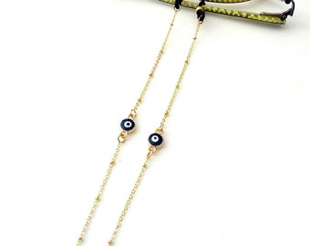 Evil eye sunglasses steel chain with balls, Gold glasses chain with blue evil eye, Sunglasses necklace, Reading glasses chain, Gift for her
