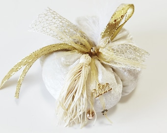 Velvet ivory pumpkin new year 2022 protection gift, Christmas ornament, New year 2022 gift, Good luck ornament, Home decor 2022