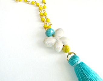 Long tassel necklace, Butterfly necklace, Yellow rosary tassel necklace, Boho necklace, Turquoise tassel, Summer necklace