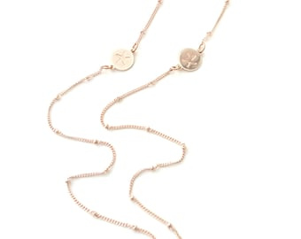 Αλυσίδα για γυαλιά ροζ χρυσό με αστερίες /Rose gold sunglasses chain with starfish coins