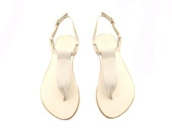 White leather sandals, Greek sandals, Handmade leather sandals, Beach party sandals, White leather sandals, Summer shoes