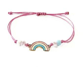 Rainbow bracelet, Pastel macrame bracelet, Colorful bracelet, Adjustable bracelet, Beaded bracelet, Macrame rainbow bracelet, Gift for girls