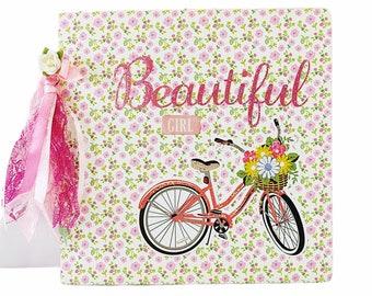 Girl mini album, Premade pages album, Baby shower girl, Floral photo mini album, Square album 6x6, Memories photo book, Handmade mini album