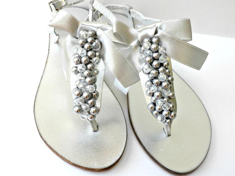 c17503e2b5022 Silver Wedding sandals  Bridal Silver pealrs crystal beads