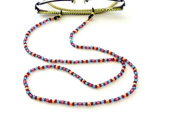 Multicolor red pink beaded sunglasses chain, Eyewear holder, Sunglasses necklace, Colorful glasses holder, Sunglasses strap, Eyeglasses cord