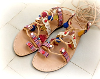 Pom pom sandals, Boho lace up Gladiator sandals, Greek tie up sandals, Summer shoes, Beach shoes, Ancient Greek sandals, Spartan sandals