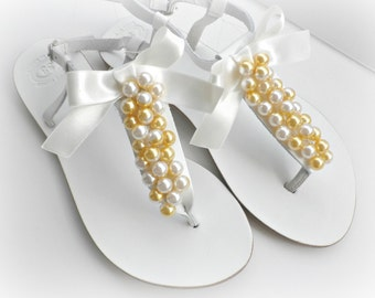 Beach wedding,White leather sandals with mix ivory yellow gold pearls and satin bow, Greek leather sandals, Bridal shoes, Bridesmaid flats