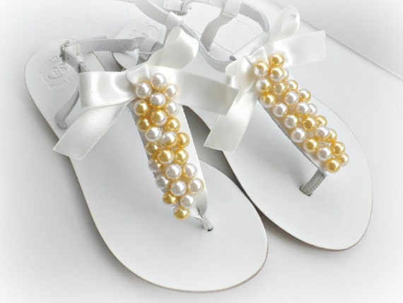 8d72b11fcd8ebb Beach weddingWhite leather sandals with mix ivory yellow gold