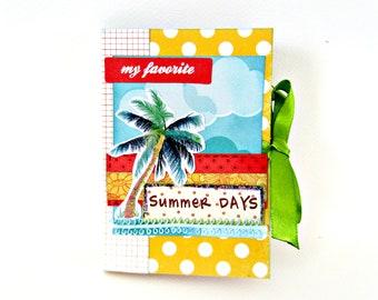 Summer mini album/ Scrapbook album/ Photo album/ Premade pages/ Travel album/ Hello summer/ Memories book/ Colorful vacation mini album