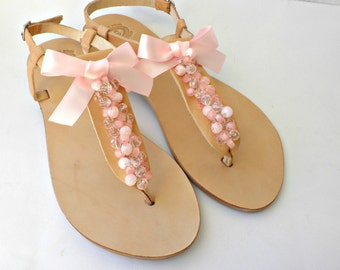 Wedding leather sandals, Bridal flats, Bridesmaid sandals -Summer women sandals- Pink sandals -Bridal party-Beaded and bow decoreted sandals