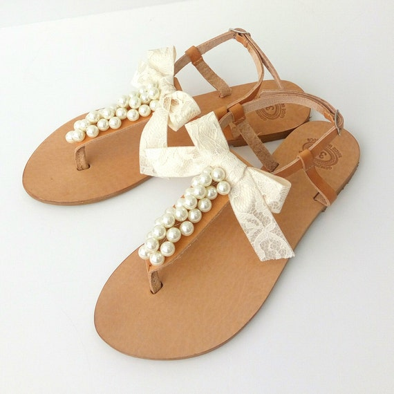 Leather Greek sandals Summer sandals- Something blue Bridesmaids sandals Summer flats Wedding shoes Blue pearls decorated sandals