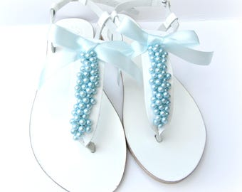 Wedding sandals/ White greek leather sandals with blue pearls Pearls sandals/ Bridal party/ Bridesmaid flats/ Summer shoes/ Bridal party