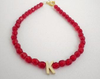 Initial letter bracelet -Red beaded gold initial bracelet  -Tiny gold letter bracelet -Personalized bracelet -Gold letter beaded bracelet
