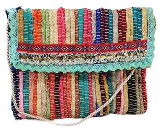 Greek turquoise lace kourelοu bag, Multicolor bag, Boho chic bag, Upcycled unique bag, Handmade hippie bag, Summer bag, Reuse fabric bag