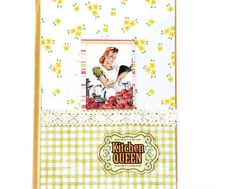 Retro kitchen recipe's book, 50's cook book, Recipe Notepad holder, Grocery list, Scrapbook notebook holder, Mother's day gift