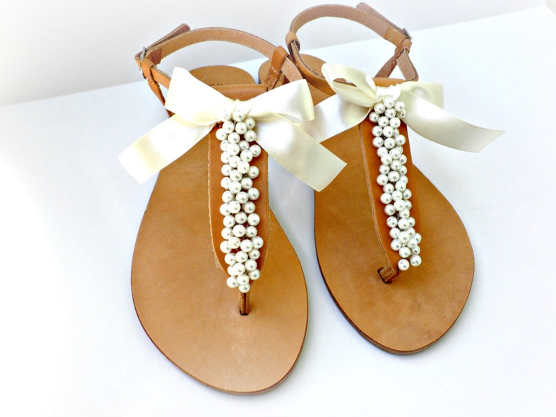 bb7d42621e6d48 Wedding sandals  Greek leather sandals decorated with ivory