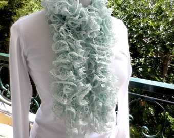 Mint green scarf-Frilly scarf - Spring summer scarf - Green scarf - Trendy accessories - Sparkle scarf - Ruffles scarf - Sequined scarf
