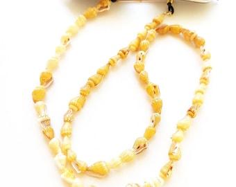 Yellow sea shell sunglasses cord, Sunglasses chain, Summer must have, Beach sunglasses strap, Eyewear necklace, Boho sunglasses strap