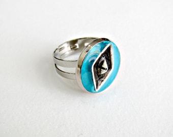 Δαχτυλίδι με βαρκούλα και υγρό γυαλί, Blue sea and boat ring