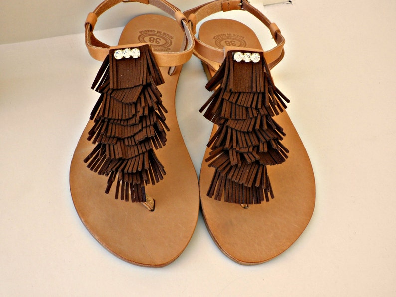 b7cc8c38cb68 Boho fringe with rhinestones greek leather sandals Summer