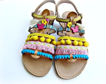 Pom pom decorated sandals/ Gladiator sandals/  Boho sandals/ Wedding sandals/ Spartan sandals/ Beach wedding/ Women summer shoes