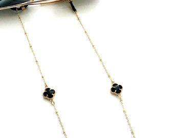 Black cross sunglasses ball chain, Gold glasses chain with black cross beads, Lanyard chain, Sunglasses necklace, Reading glasses chain