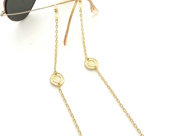 Sunglasses gold chain, Eyeglasses necklace, Gold sunglasses chain, Sunglasses holder, Gold eyeglass necklace, Reading glasses holder