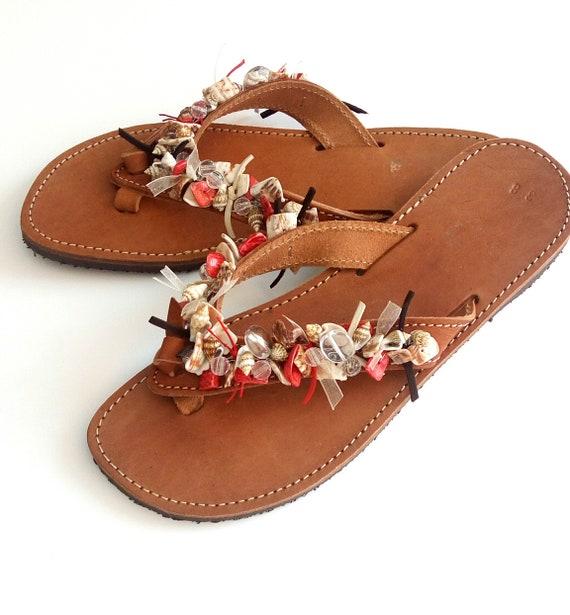 Greek leather sandals Summer beaded sandals Sea shells beachwear Leather sandals Red beaded sandals Beach shoes Natural flip flops