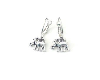 Σκουλαρίκια κρίκοι με ελεφαντάκια, Silver hoop earrings with elephants