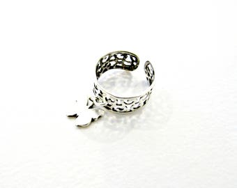 Filigree silver ring with butterfly, Band ring, Butterfly ring, Chevalier ring, Open ring, Adjustable base ring, Valentines gift ring