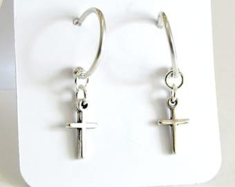 Σκουλαρίκια κρίκοι με σταυρό / Silver cross earring