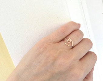 Evil eye rose gold ring, Protection Ring, Minimalist ring, Evil Eye Ring, Band Ring,Rose gold stackable, Adjustable ring, Cheap gift for her