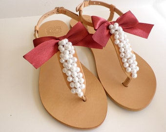 Wedding sandals- Greek leather sandals decorated with white pearls and red satin bow- Bridal party- White women flats- Bridesmaid sandals
