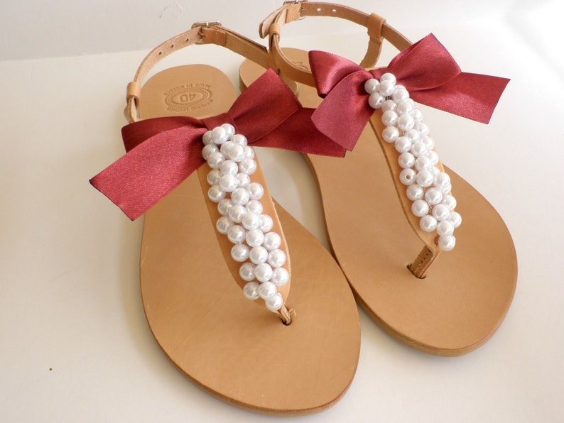 f0a7a97d5c2d66 Wedding sandals Greek leather sandals decorated with white