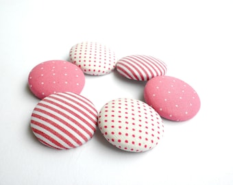 Fabric sewing buttons - Covered buttons - Size 45 28mm - Red covered buttons - Pink fabric buttons - Polka dots buttons - Red Stripes